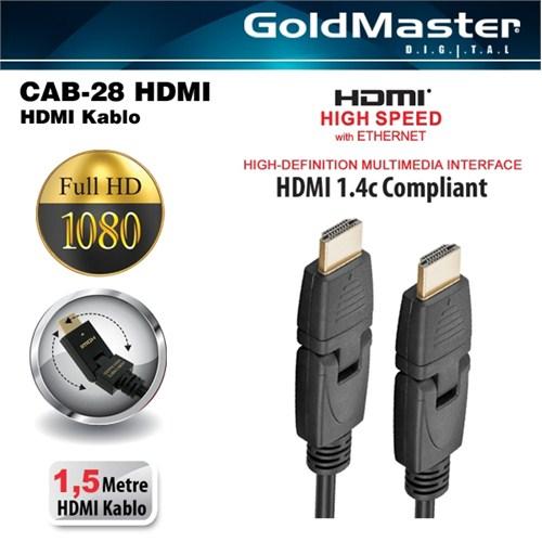 Goldmaster Cab-28 4K 3D Full HD Altın Uçlu HDMI Kablo (1,5 metre)