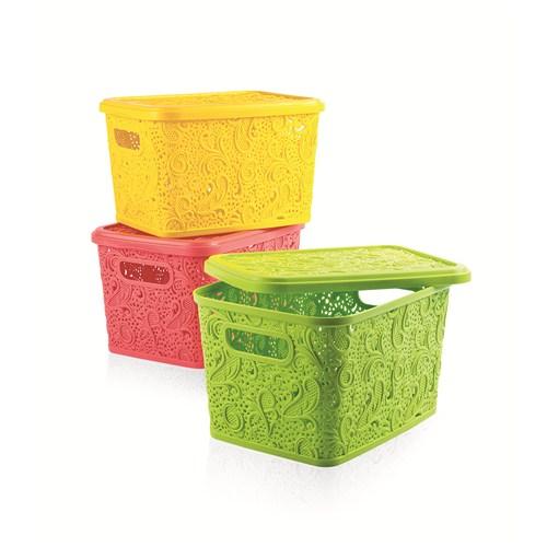 Floria Dantel Kapaklı Kutu (Sarı)