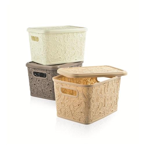 Floria Dantel Kapaklı Kutu (Beyaz)