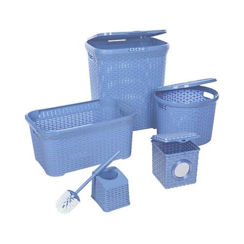 Modelüks Çok Amaçlı Hasır Banyo Seti - Mavi