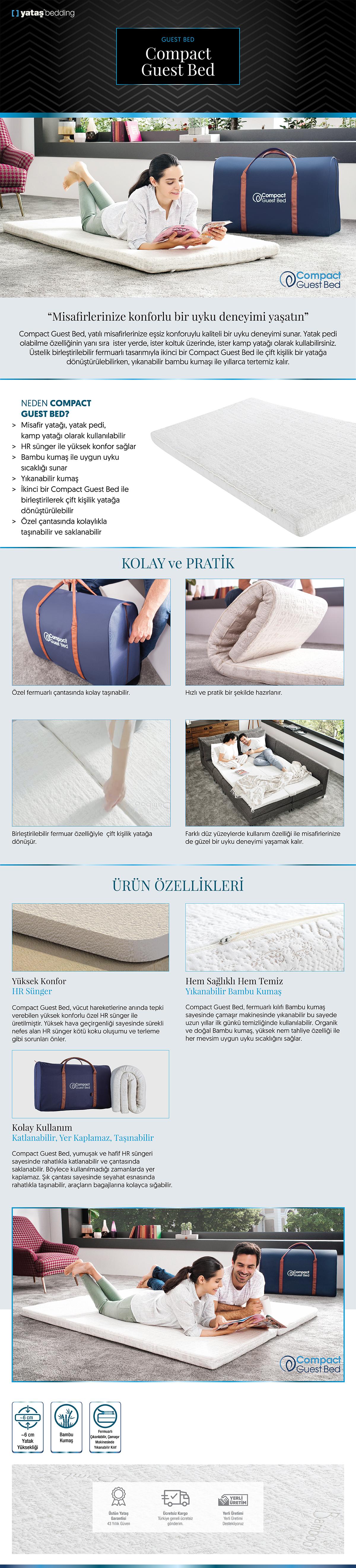 Bedding Compact Guest Bed Sünger Yatak
