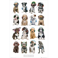 Keith Kimberlin Puppies Headphones Maxi Poster