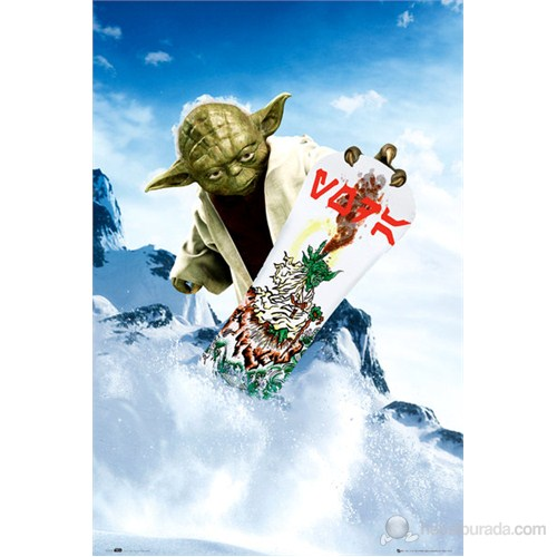 Star Wars Yoda Snowboarding Maxi Poster