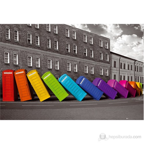 London Phoneboxes Falling Maxi Poster