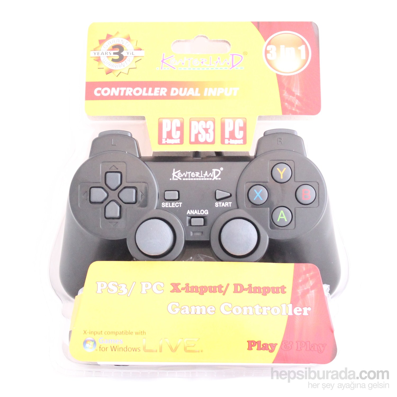 Kontorland PS3/PC (X-input/D-input) Analog Gamepad