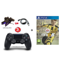 Fifa 2017 (Türkçe) Ps4 Oyun + Sony V2 Ps4 Kol + Çiftli Şarj Kiti + Usb Şarj Kablosu