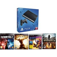 Sony Playstation 3 12 Gb Slim Konsol  + inFamous 2 + God of War: Ascension + Resistance 2 + Sly Cooper: Thieves in Time