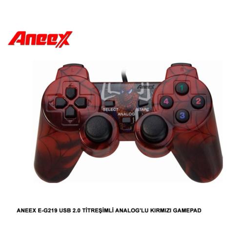 Aneex E-G219 Usb 2.0 Titreşimli Analoglu Kırmızı Gamepad