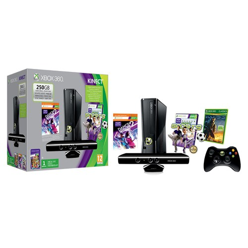 Microsoft 250gb Kinect Konsol + Kinect Adventures + Kinect Sports + Dance Central 2 + Halo 3 + 1 Ay Live Gold Paket