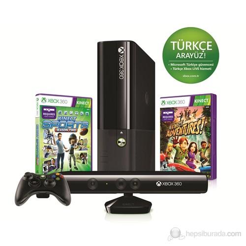 Xbox 360 4 gb Konsol + Kinect Sensör + Kinect Sport 2 + Kinect Adventures Oyun + 1 Ay Live Üyelik