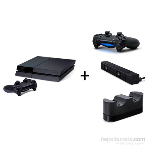 Sony Playstation 4 500 Gb Oyun Konsolu + Playstation 4 Titreşimli Joystick + PS4 Kamera + PS4 Şarj Cihazı