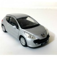 Welly 1:36 Peugot 207 Metal Araba Gri