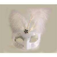 Partistok Tüylü Venedik Maskesi Beyaz