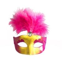 Partistok Tüylü Venedik Maskesi Fuşya