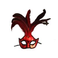 Partistok Bol Tüylü Balo Maskesi Kırmızı