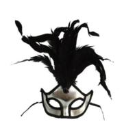 Partistok Bol Tüylü Balo Maskesi Gümüş