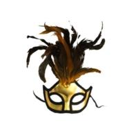 Partistok Bol Tüylü Balo Maskesi Altın