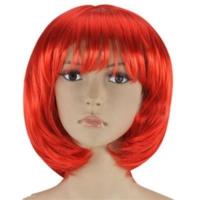 Partistok Kırmızı Peruk Küt Saç