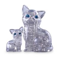 Crystal Puzzle Şeffaf Kedi Ve Yavrusu