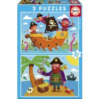 Educa Puzzle Pirates 2 X 20 Parça Karton Puzzle