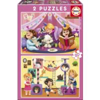 Educa Puzzle Pyjama Party 2 X 20 Parça Karton Puzzle