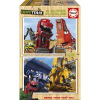 Educa Puzzle Dinotrux 2 X 16 Parça Ahşap Puzzle