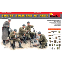 Miniart 1/35 Ölçek Plastik Maket, Sovyet Askerleri Dinlenirken, Silah Ve Ekipmanlı Özel Sürüm