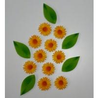 Desenli Keçeler Sarı Papatya ve Yaprak Desenli Keçe Aplike