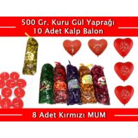 Wildlebend Renkli Kokulu Gül Yaprakları 500 Gr + 10 Kalpli Balon + 8 Kırmızı Mum