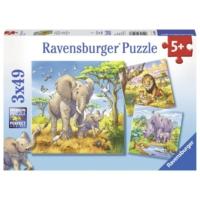Ravensburger Vahşi Hayvanlar 3 x 49 Parça Çocuk Puzzle