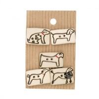Buttonmad Beyaz Köpekler Seramik Düğme - L582