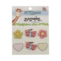 Kartopu Kelebek Çiçek Karışık Dekoratif Düğme - Bz102
