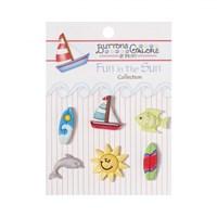 Kartopu Plaj Malzemeleri Şeklinde Dekoratif Düğme - Fn109