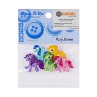 Kartopu Renkli Atlar Şeklinde Dekoratif Düğme - 7810