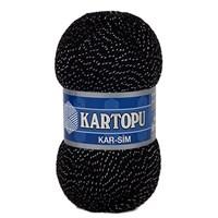 Kartopu Kar-Sim Siyah Gümüş Simli El Örgü İpi - K940g