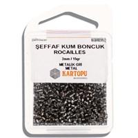 Kartopu 2 Mm Metalik Gri Şeffaf Kum Boncuk - 08.118