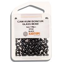 Kartopu 3 Mm Siyah Cam Kum Boncuk - 10.105