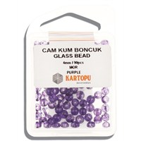 Kartopu 4 Mm Mor Cam Kum Boncuk - 11.116