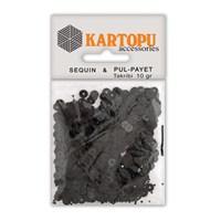 Kartopu Siyah Yuvarlak Figürel Pul Payet - Pp2