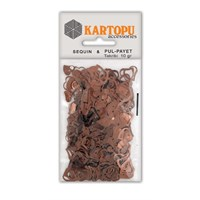 Kartopu Kahverengi Kalp Figürlü Figürel Pul Payet - Pp4