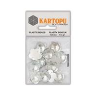 Kartopu Gümüş Çiçek Resin Taşı Dikilebilen Plastik Boncuk - Rt5