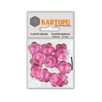 Kartopu Pembe Çiçek Resin Taşı Dikilebilen Plastik Boncuk - Rt5
