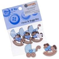 Kartopu At Ve Bebek Arabası Şeklinde Dekoratif Düğme - 5823