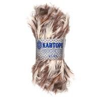 Kartopu Kürk Kahverengi Krem El Örgü İpi - Kf907