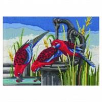 Duftin 25X34 Cm Kırmızı Kuş Desenli Resim Uzun İşleme Kiti - Fls1025-Aa0400