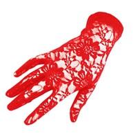 Pandoli Kısa Boy Dantelli Eldiven Kırmızı Renk