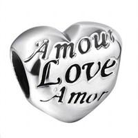 Angemiel Üç Dilde Aşk Kalp Gümüş Kaplama İle Kendi Tarzını Yarat