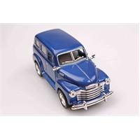 Mavi 1950 Chevrolet Suburban 1/36 Çek Bırak Die-Cast Model Araç