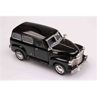 Siyah 1950 Chevrolet Suburban 1/36 Çek Bırak Die-Cast Model Araç