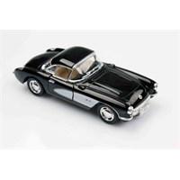 Siyah 1957 Chevrolet Corvette 1/34 Çek Bırak Die-Cast Model Araç